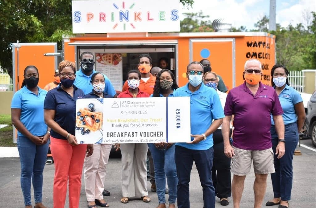 Bahamas Waste Employees treated to the Ultimate Pop-Up Breakfast Experience courtesy of Apex Management
